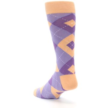 Image of Orchid Purple Peach Argyle Men's Dress Socks (side-2-back-15)