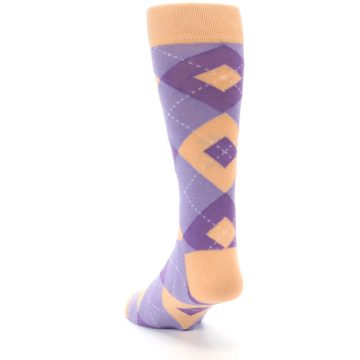Image of Orchid Purple Peach Argyle Men's Dress Socks (side-2-back-16)