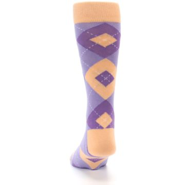 Image of Orchid Purple Peach Argyle Men's Dress Socks (back-17)
