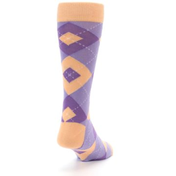 Image of Orchid Purple Peach Argyle Men's Dress Socks (side-1-back-20)