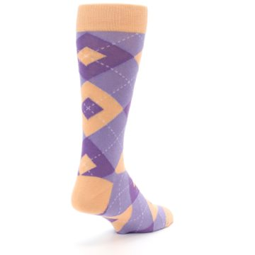 Image of Orchid Purple Peach Argyle Men's Dress Socks (side-1-back-21)