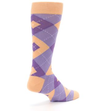 Image of Orchid Purple Peach Argyle Men's Dress Socks (side-1-back-22)