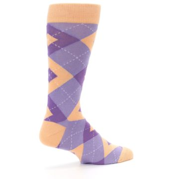 Image of Orchid Purple Peach Argyle Men's Dress Socks (side-1-23)