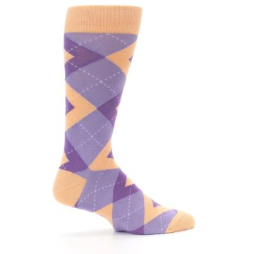 Image of Orchid Purple Peach Argyle Men's Dress Socks (side-1-24)