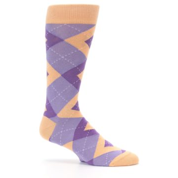 Image of Orchid Purple Peach Argyle Men's Dress Socks (side-1-25)