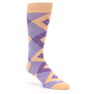 Image of Orchid Purple Peach Argyle Men's Dress Socks (side-1-27)