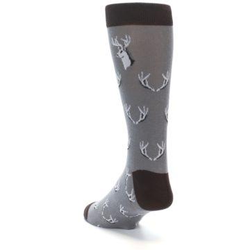 Image of Grey Deer Antlers Men's Dress Socks (side-2-back-15)