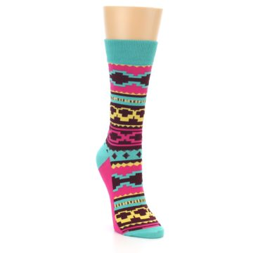 Image of Teal Pink Aztek Stripe Women's Dress Socks (side-1-front-02)