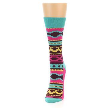 Image of Teal Pink Aztek Stripe Women's Dress Socks (side-2-front-06)