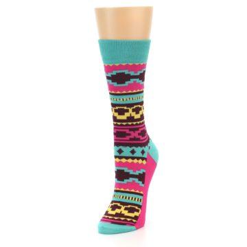 Image of Teal Pink Aztek Stripe Women's Dress Socks (side-2-front-07)