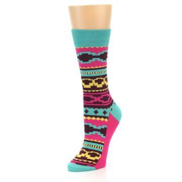 Image of Teal Pink Aztek Stripe Women's Dress Socks (side-2-front-08)