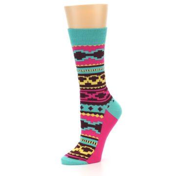 Image of Teal Pink Aztek Stripe Women's Dress Socks (side-2-09)