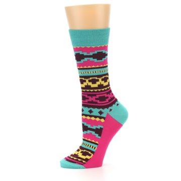 Image of Teal Pink Aztek Stripe Women's Dress Socks (side-2-10)