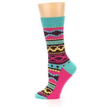 Image of Teal Pink Aztek Stripe Women's Dress Socks (side-2-11)