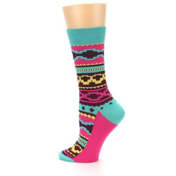 Image of Teal Pink Aztek Stripe Women's Dress Socks (side-2-12)
