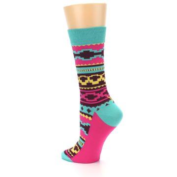 Image of Teal Pink Aztek Stripe Women's Dress Socks (side-2-13)