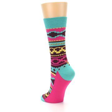 Image of Teal Pink Aztek Stripe Women's Dress Socks (side-2-back-14)