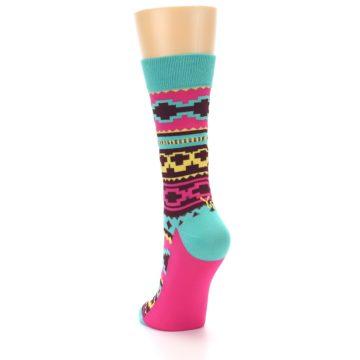 Image of Teal Pink Aztek Stripe Women's Dress Socks (side-2-back-15)