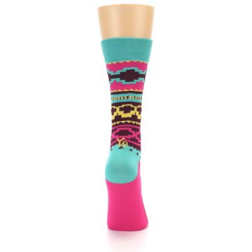 Image of Teal Pink Aztek Stripe Women's Dress Socks (back-18)