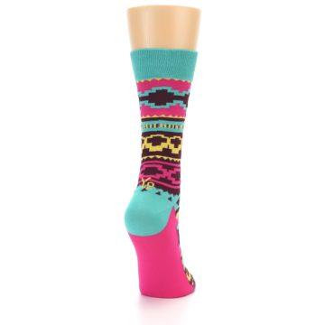 Image of Teal Pink Aztek Stripe Women's Dress Socks (back-19)