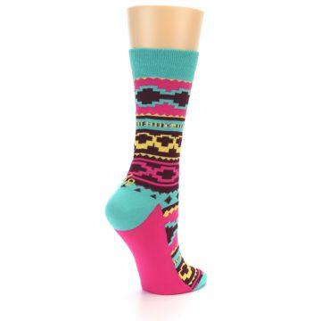 Image of Teal Pink Aztek Stripe Women's Dress Socks (side-1-back-21)