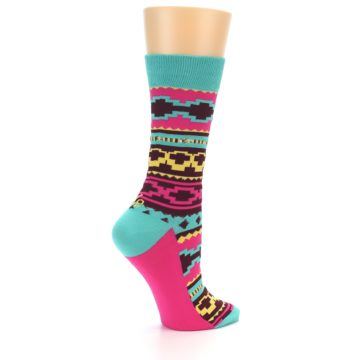 Image of Teal Pink Aztek Stripe Women's Dress Socks (side-1-back-22)