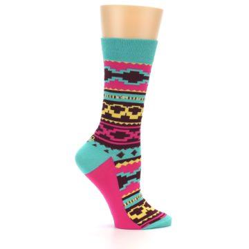 Image of Teal Pink Aztek Stripe Women's Dress Socks (side-1-24)