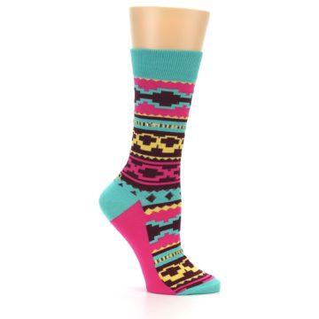 Image of Teal Pink Aztek Stripe Women's Dress Socks (side-1-25)