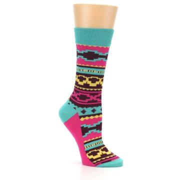 Image of Teal Pink Aztek Stripe Women's Dress Socks (side-1-26)