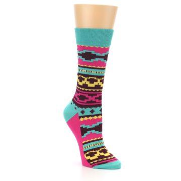 Image of Teal Pink Aztek Stripe Women's Dress Socks (side-1-27)