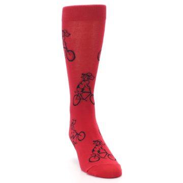 Image of Red Dog on Bike Men's Dress Socks (side-1-front-03)