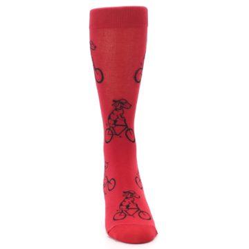 Image of Red Dog on Bike Men's Dress Socks (front-04)