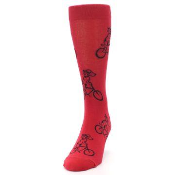Image of Red Dog on Bike Men's Dress Socks (side-2-front-06)