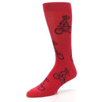 Image of Red Dog on Bike Men's Dress Socks (side-2-09)
