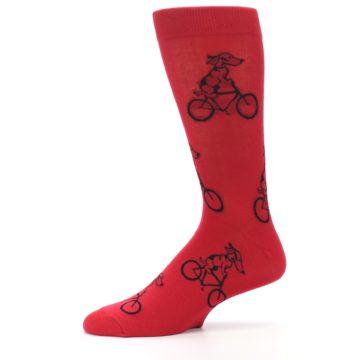Image of Red Dog on Bike Men's Dress Socks (side-2-11)