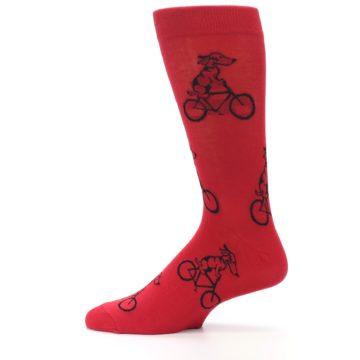 Image of Red Dog on Bike Men's Dress Socks (side-2-12)