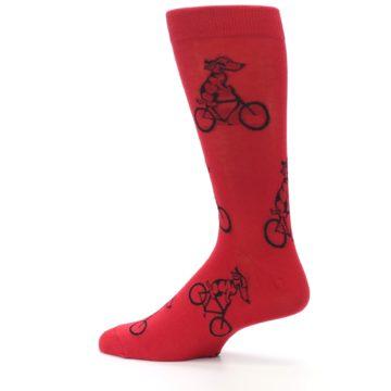 Image of Red Dog on Bike Men's Dress Socks (side-2-13)