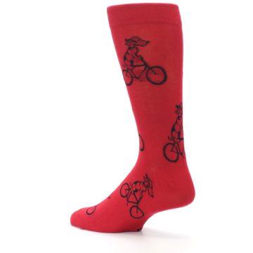 Image of Red Dog on Bike Men's Dress Socks (side-2-back-14)