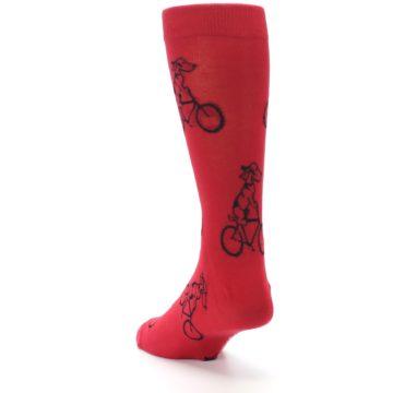 Image of Red Dog on Bike Men's Dress Socks (side-2-back-16)
