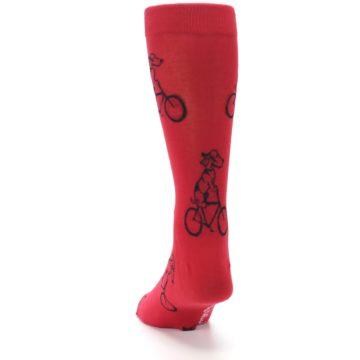 Image of Red Dog on Bike Men's Dress Socks (back-17)