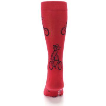 Image of Red Dog on Bike Men's Dress Socks (back-18)
