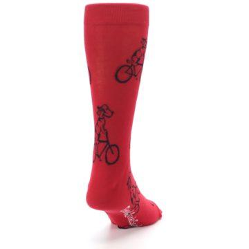 Image of Red Dog on Bike Men's Dress Socks (side-1-back-20)