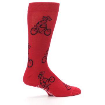 Image of Red Dog on Bike Men's Dress Socks (side-1-24)