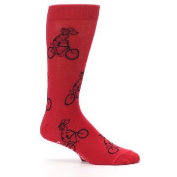 Image of Red Dog on Bike Men's Dress Socks (side-1-25)