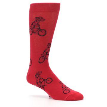 Image of Red Dog on Bike Men's Dress Socks (side-1-26)