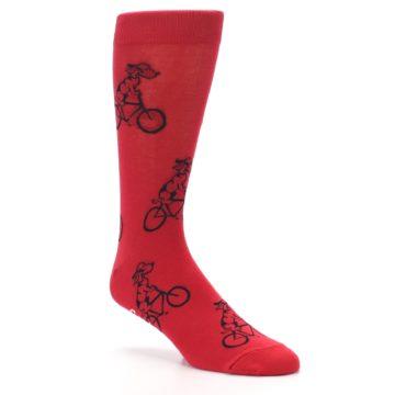 Image of Red Dog on Bike Men's Dress Socks (side-1-27)