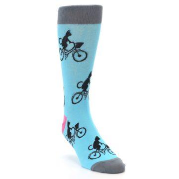 Image of Teal Cat on Bike Men's Dress Socks (side-1-front-02)