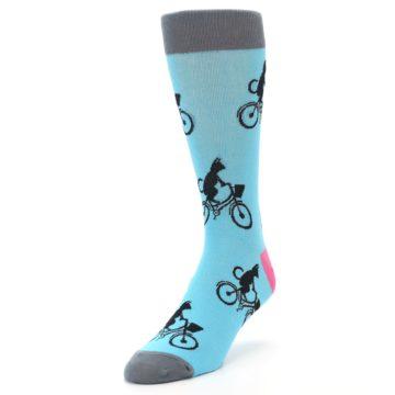 Image of Teal Cat on Bike Men's Dress Socks (side-2-front-07)