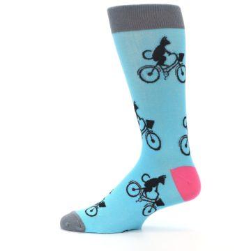 Image of Teal Cat on Bike Men's Dress Socks (side-2-12)