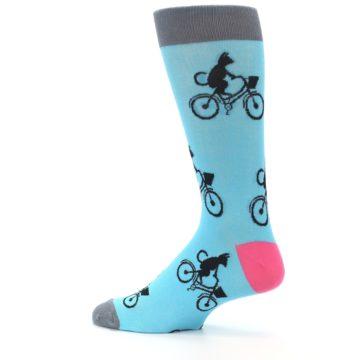Image of Teal Cat on Bike Men's Dress Socks (side-2-13)
